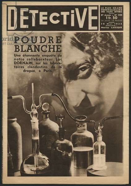 White powder, illicit drug laboratories in Paris, front cover illustration from 'Detective', 30th May 1933 (photolitho)
