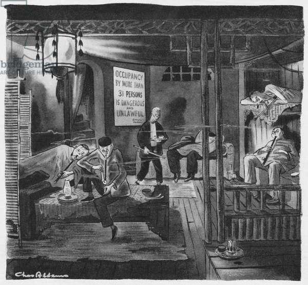 Opium den, illustration from 'The New Yorker', 12th September 1944 (b/w litho)