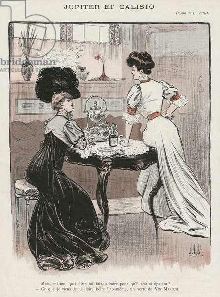 Advertisement for 'Vin Mariani', illustration from 'La Vie Parisienne', 4th November 1905 (colour litho)