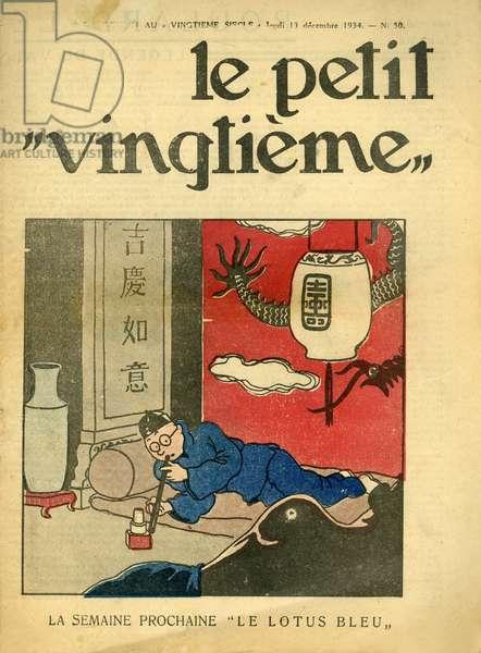 Tintin and the Blue Lotus, from 'Le Petit Vingtième', No. 50, 13 December 1934 (colour litho)