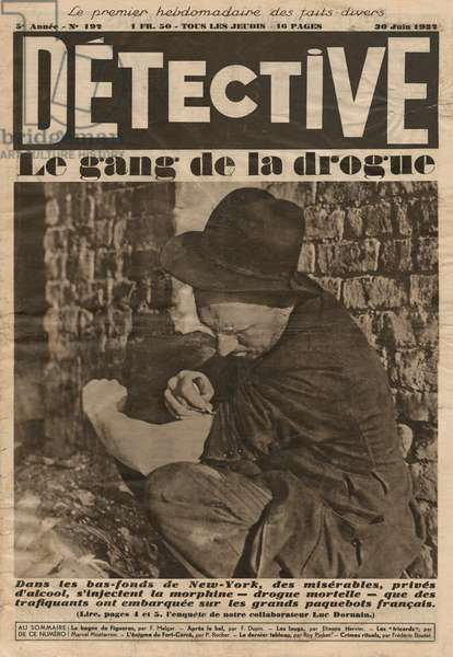 Drug gang, front cover illustration from 'Detective', No 192, 30th June 1932 (photolitho)