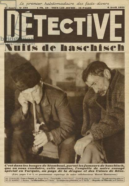 Nights of Hashish, back cover illustration from 'Detective', no 232, 6th April 1933 (photolitho)