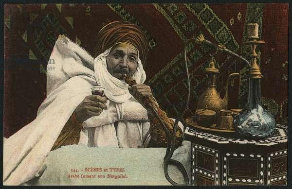 Postcard depicting an hashish smoker, Egypt, early 20th century (coloured photo)