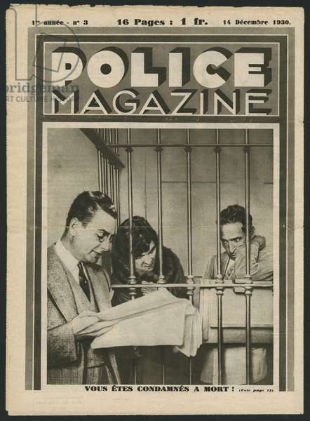 'You are sentenced to death', back cover illustration from 'Police Magazine', 14th December 1930 (photolitho)