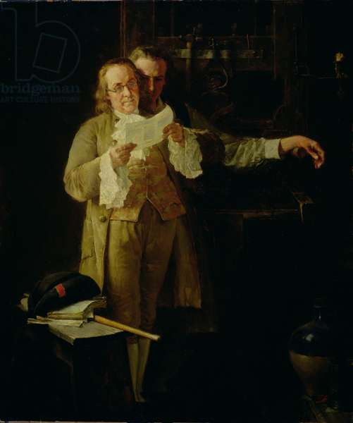 Benjamin Franklin Overseeing the Printing of Poor Richard's Almanack (oil on canvas)