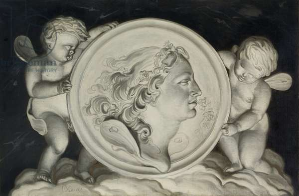 Zephyr in a painted roundel supported by putti floating on clouds (oil on canvas) (pair of 421580)