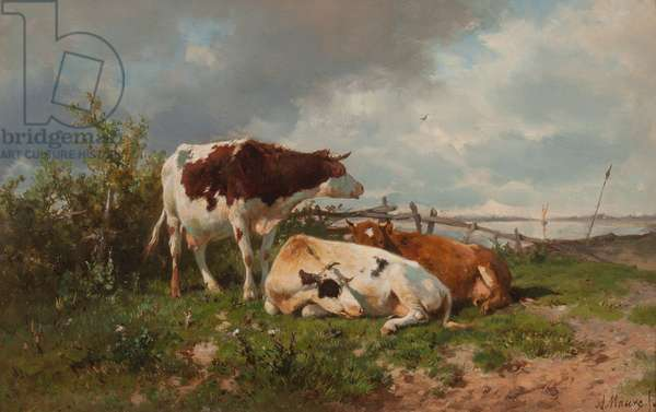 Three Cows in a Meadow (oil on panel)
