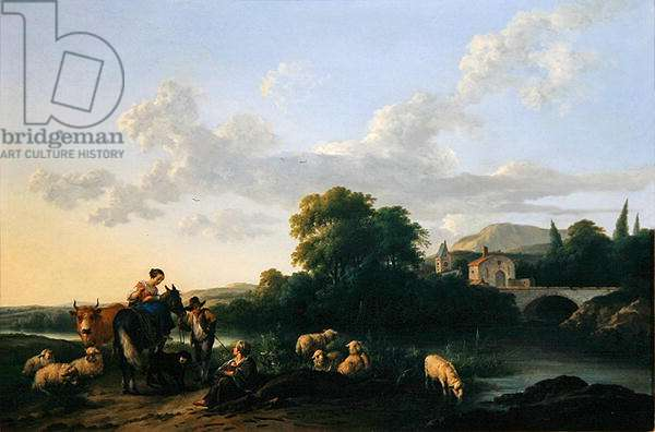 Peasants and Cattle in an Italinate Landscape (oil on panel)