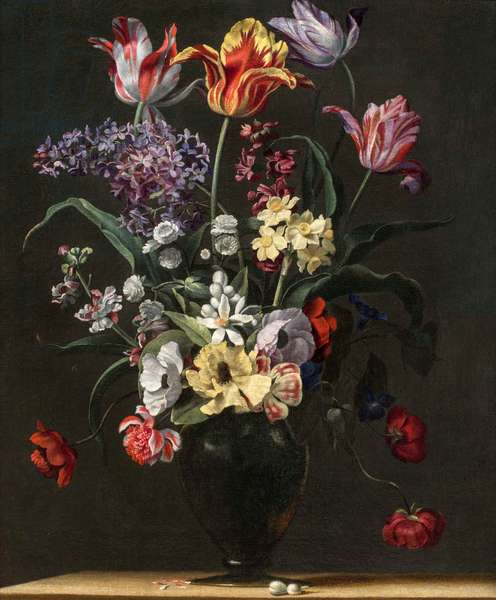 Tulips, Lilies, Daffodils, Lilacs, and Other Flowers in a Glass Vase on a Wooden Ledge, one of a pair, 17th century (oil on canvas) (see also 5888694)