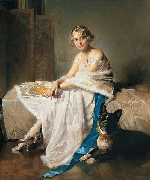 An elegant lady with her French bulldog in an interior, c.1925 (oil on canvas)