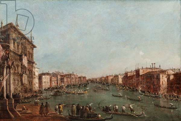 A Regatta on the Grand Canal, Venice (oil on panel)