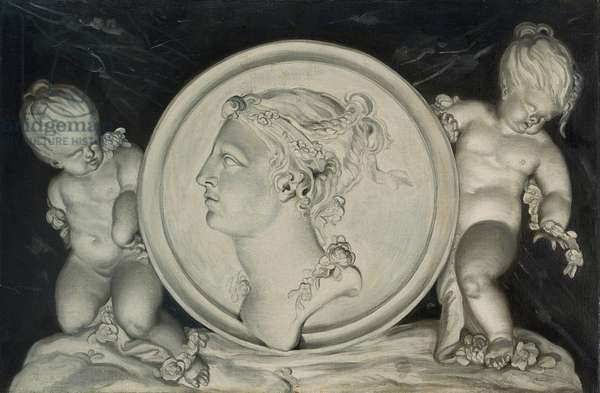 Flora in a painted roundel supported by putti floating on clouds (oil on canvas) (pair of 421581)