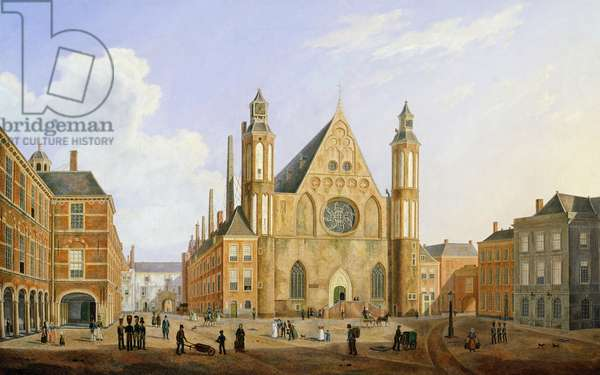 The Binnenhof in the Hague with a View of the Ridderzaal with Soldiers and other Figures in the Courtyard (oil on canvas)