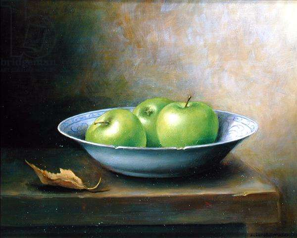 Bowl of Apples, 1984 (oil on board)