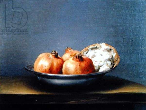 Pomergranates and Bread, 1977 (oil on board)