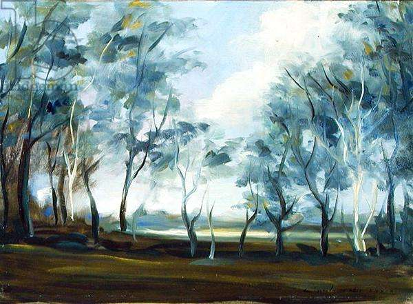 Landscape at Boxted, 1974 (oil on board)