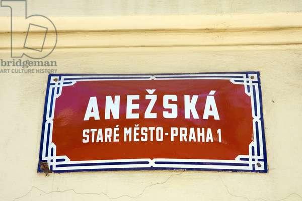 Street sign Anezska in Prague, Czech Republic.