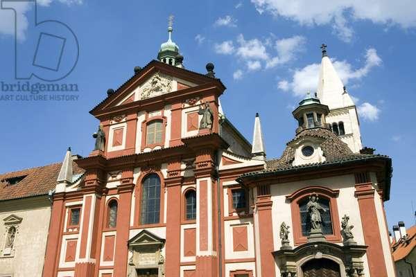 Facade of St. George's Basilica in Prague, Czech Republic. Photography 2009