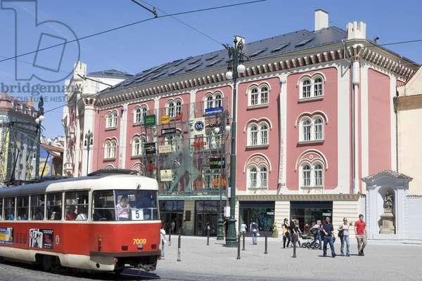 Palladium shopping centre and tram in Prague, Czech Republic.
