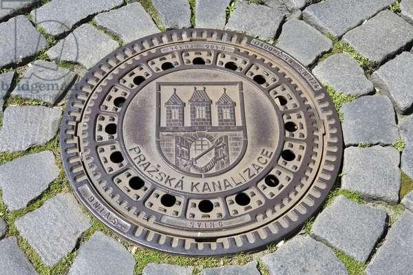 Sewer mouth on Prazska Street in Prague, Czech Republic.