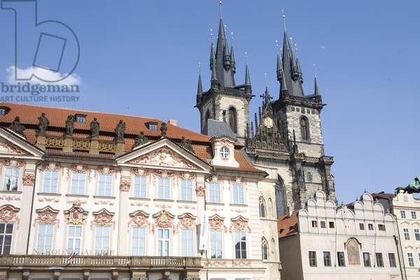 Narodni Gallery in Prague and the Church of Our Lady of Tyn, Czech Republic.