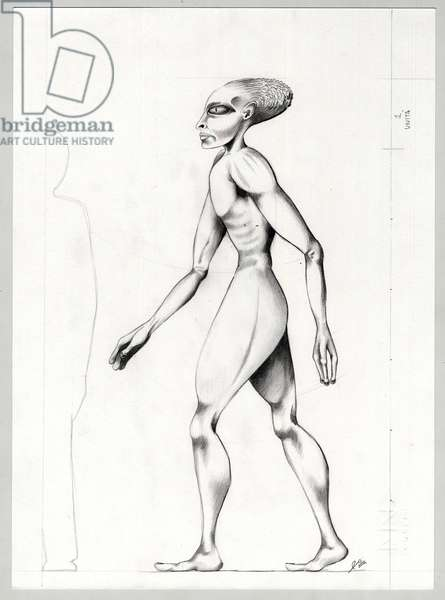 Science fiction illustration: an alien or alien (alien or alien) from the planet Mars to the conquest of space or universe. Drawing by Alessandro Lonati