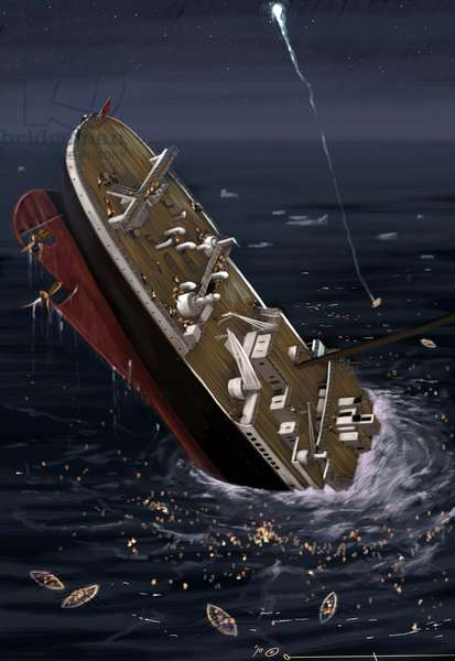 View of the transatlantic liner Titanic at the time of the sinking on 14 and 15 April 1912. Illustration by Alesandro Lonati. 2010