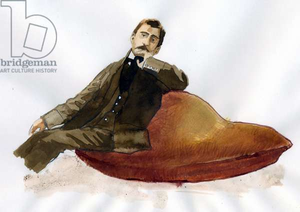 Portrait of the French writer Marcel Proust (1871-1922) sitting on his madeleine (Portrait of french writer Marcel Proust sitting on his madeleine)