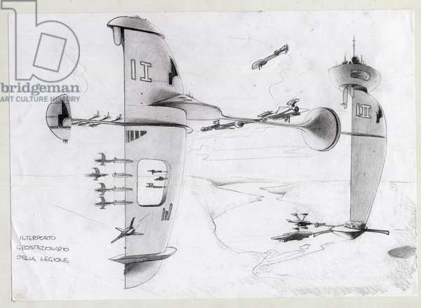 Science fiction illustration: space base in the universe with ships. Drawing by Alessandro Lonati