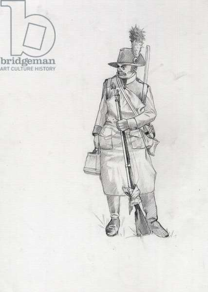 First Empire (1804-1814 and 1815): soldier of the Austrian-Hungarian army (Austro-Hungarian), pioneer sapeur (or pioneer). Drawing by Alessandro Lonati
