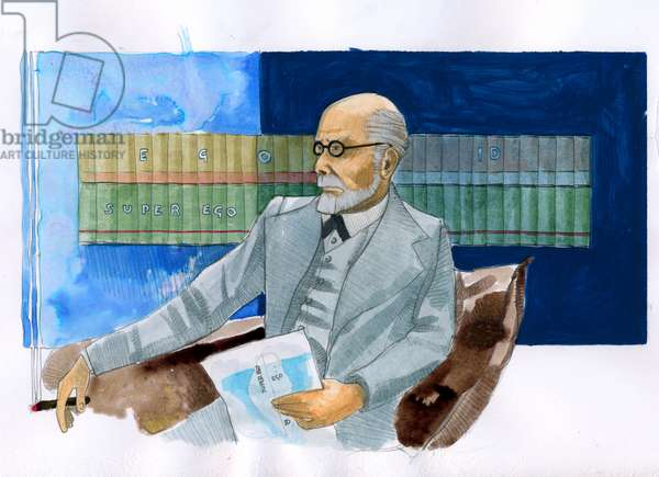 Portrait of Sigmund Freud (1856-1939), Austrian psychiatrist (Portrait of Sigmund Freud Austrian neurologist and the father of psychoanalysis) - Illustration by Alessandro Lonati