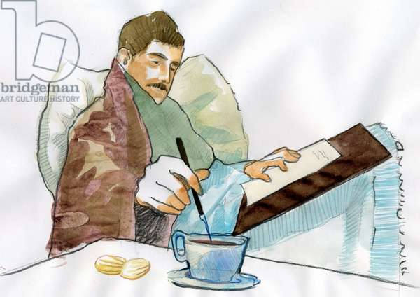 Portrait of the French writer Marcel Proust (1871-1922) sick dipping his pen in the tea of his aunt Elisabeth (Portrait of french writer Marcel Proust as a sick man writing with the tea of his aunt Elisabeth)