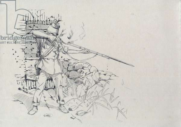 Second Empire (1852-1870): infantryman shooting, soldier of the Austrian army, Austro-Hungarian (Austro-Hungarian), 1859 during the Italian Campaign and Battle of Solferino - San Martino on June 24, 1859. Drawing by Alessandro Lonati