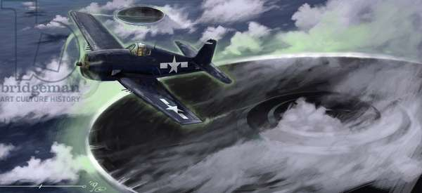 Mysterious phenomena: depicting the disappearance of a US Navy aircraft in the Bermuda triangle in the 1940s. A legend suggests that it would be the work of UFOs (UFO or aliens) represented here. Drawing by Alessandro Lonati