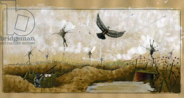 World War I: a passenger pigeon carrying a message targeted by a German soldier in a trench seeking to recover a message 1914-1918 (WWI: a german soldier shooting at a homing pigeon carrying a message, 1914 1918) Illustration by Alessandro Lonati