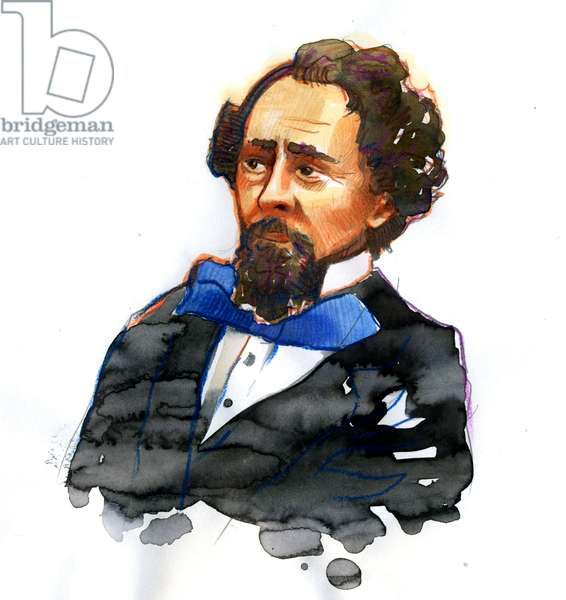 Portrait of Charles Dickens (1812-1870) English writer (Portrait of English writer and social critic Charles Dickens)
