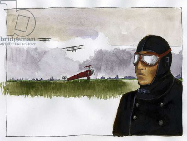 Portrait of Manfred von Richthofen nicknames the red baron (1892-1918) German aviator (Portrait of Manfred von Richthofen, the red baron, German fighter pilot) Illustration by Alessandro Lonati