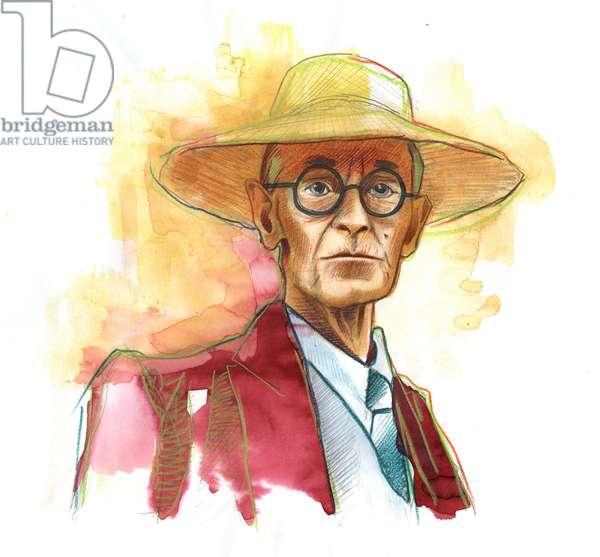 Hermann Hesse (1877-1962), German novelist, poet and essayist, then Swiss - Illustration by Alessandro Lonati
