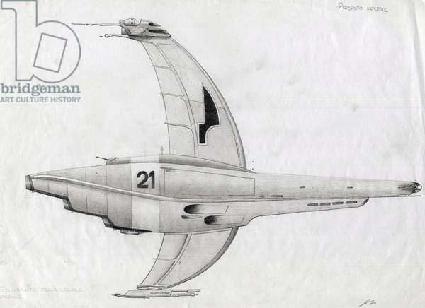 Science fiction illustration: spacecraft for the conquest of space or universe. Drawing by Alessandro Lonati