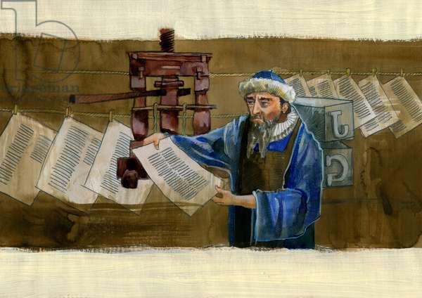 Portrait of Johannes Gensfleisch dit Gutenberg (1400-1468), German Printer (Portrait of Johannes Gutenberg) Illustration by Alessandro Lonati