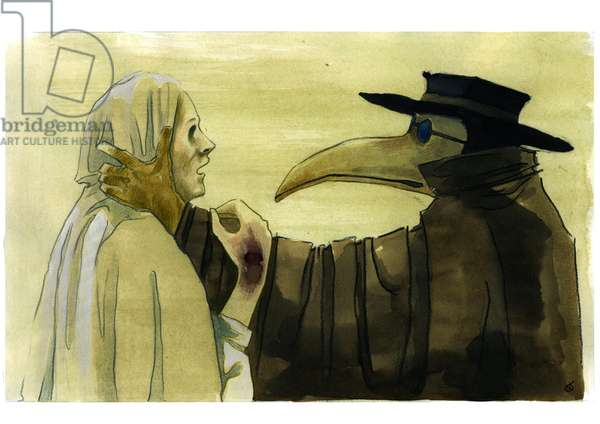 Plague doctor wearing a beak-like mask which was filled with aromatic items in front of a victim, 17th 18th centuries