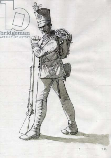 First Empire (1804-1814 and 1815): costume of an infantry soldier of the line infantry of the Austrian-Hungarian (Austro-Hungarian) army. Drawing by Alessandro Lonati