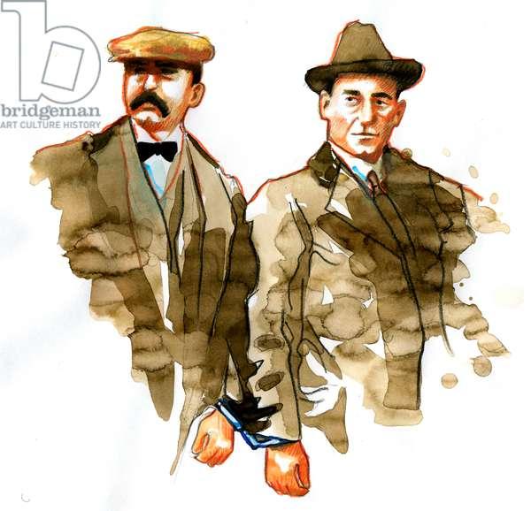 Sacco and Vanzetti affair: portrait of Italian anarchists Bartolomeo Vanzetti (left) and Nicola Zacco - (Portrait of Italian anarchists Bartolomeo Vanzetti (left) and Nicola Sacco)