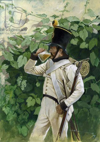 First Empire: Austrian line infantry officer drinking a beer mug. Drawing by Alessandro Lonati