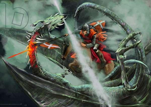 Saint George defeating the dragon.