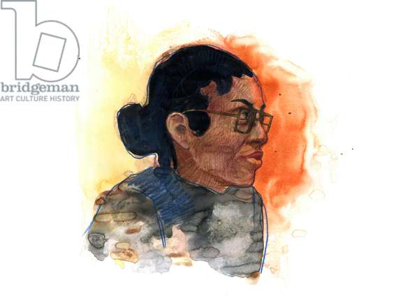 Portrait of Rosa Parks (1913-2005) iconic figure in the fight against racial segregation in the United States (African American civil rights activist Rosa Parks)