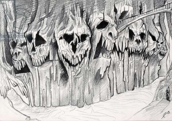 Illustration fantasy, horror or science fiction (sci-fi): Decor of a forest with volcano lava, head of death (spectra or zombies, spirit of ghosts) depicting the underworld on the edge of a river. Drawing by Alessandro Lonati