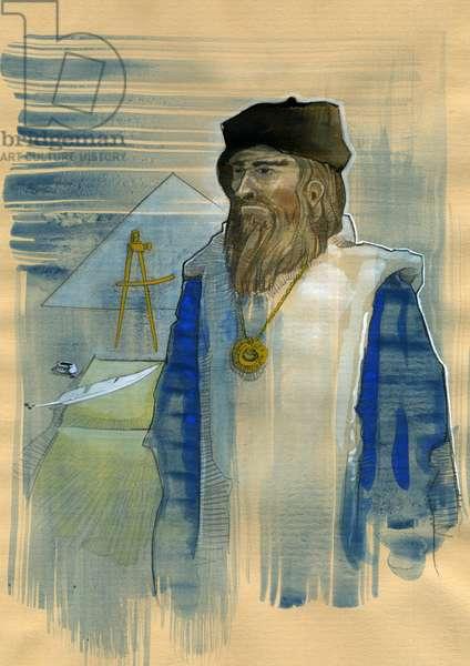 Portrait of Michel de Notre Dame (Nostradamus) English astrologer - Portrait of Nostradamus, Michel de Notre Dame (1503-1566) astrologer and doctor francais Illustration by Alessandro Lonati