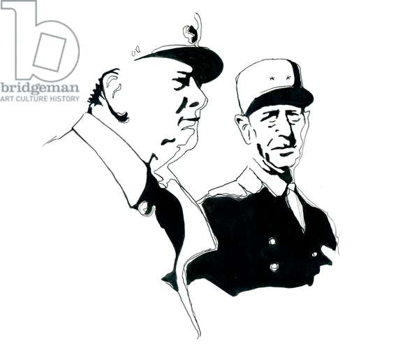 Portrait of General Charles de Gaulle and Winston Churchill