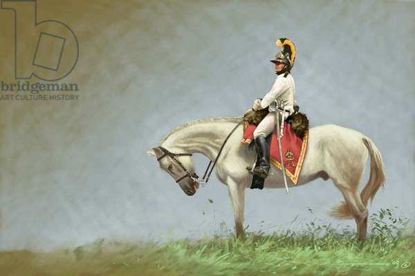 First Empire: soldier of the Austrian cavalry. Drawing by Alessandro Lonati